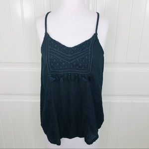 Lucky Brand Black Embroidered Cami Tank Top Tassel